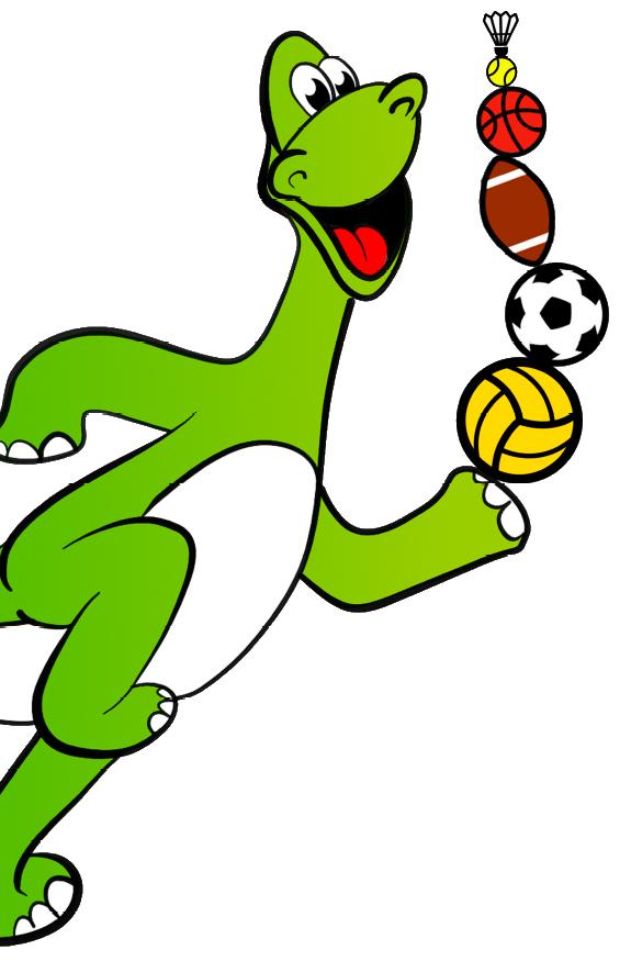 Ballschule Heildelberg Dino mit Bällen