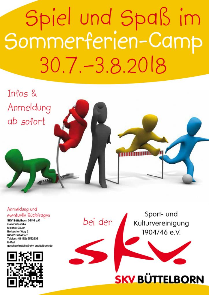 Plakat für das SKV Sommerferiencamp vom 30. Juni bis 3. August